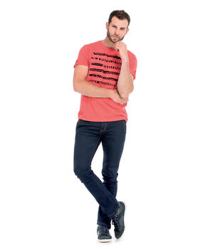 Tee-shirt manches courtes homme corail_1