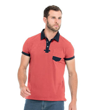 Polo manches courtes homme corail - Mode marine Homme