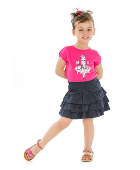 Tee-shirt manches courtes enfant fille rose persan_1