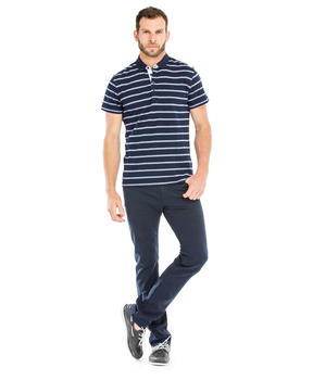 Polo manches courtes homme rayé marine_1