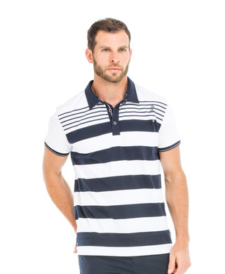 Polo manches courtes homme blanc rayémarine - Mode marine Homme