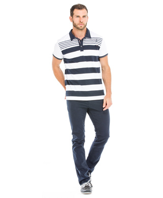 Polo manches courtes homme blanc rayémarine_1