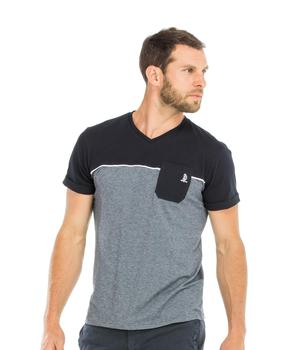 Tee-shirt manches courtes homme marine et gris - Mode marine Homme
