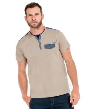 Tee-shirt manches courtes homme beige - Mode marine Homme