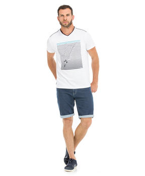 Tee-shirt manches courtes homme blanc_1