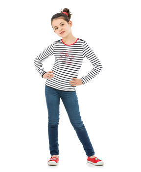 Tee-shirt manches longues enfant fille rayé marine_1