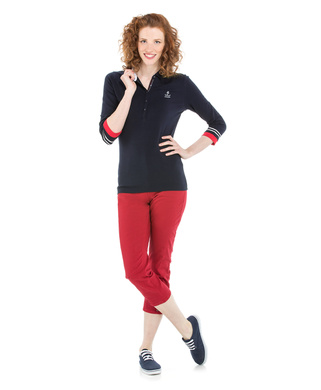 Polo manches longues femme marine_1