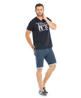 Tee-shirt manches courtes homme marine_1