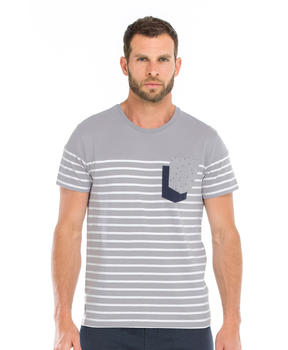 Tee-shirt manches courtes homme gris rayé - Mode marine Homme