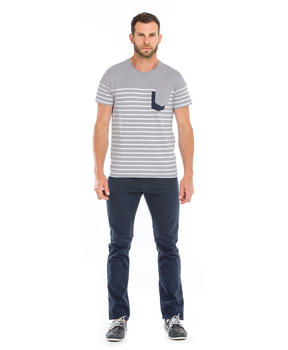 Tee-shirt manches courtes homme gris rayé_1
