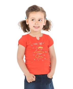 Tee-shirt manches courtes enfant fille orange sanguine - Mode marine Enfant fille