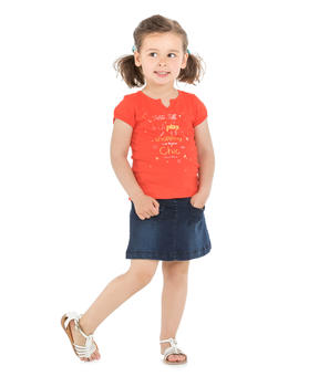 Tee-shirt manches courtes enfant fille orange sanguine_1