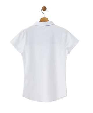 Polo manches courtes femme blanc_1