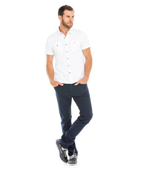 Chemise manches courtes homme blanche_1