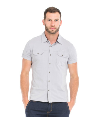 Chemise manches courtes homme grise - Mode marine Homme