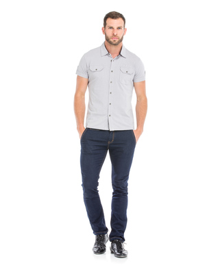 Chemise manches courtes homme grise_1