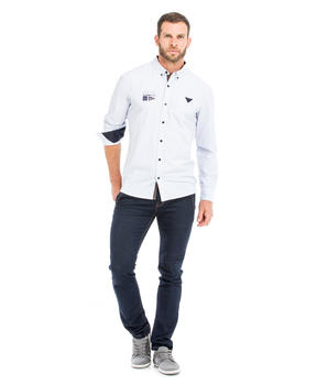Chemise manches longues homme rayée_1