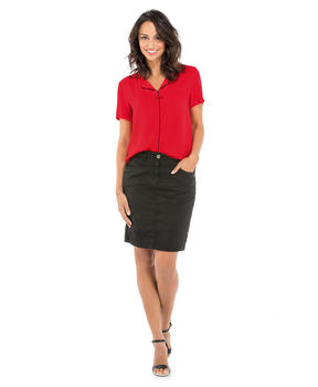 Blouse manches courtes femme rouge madder_1