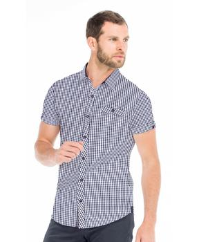 Chemise manches courtes homme vichy marine - Mode marine Homme
