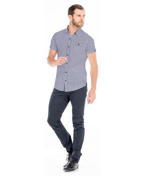 Chemise manches courtes homme vichy marine_1