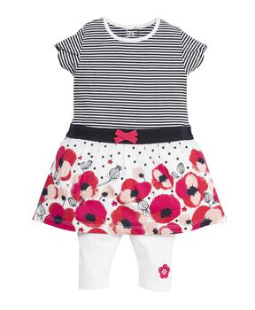 Robe + legging bébé fille rayé - Mode marine Destockage