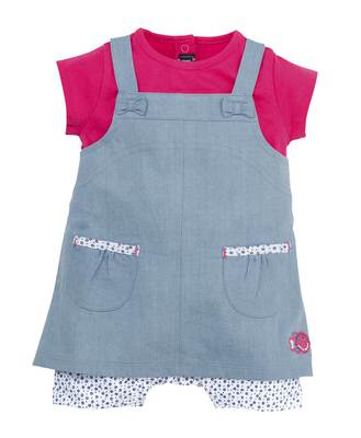 Combicourt bébé fille denim bleach - Mode marine Bébé fille