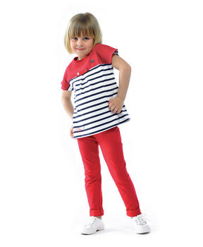 Jegging enfant fille rouge piment_1