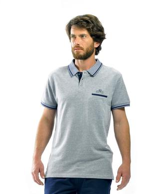Polo homme gris chiné - Mode marine Homme
