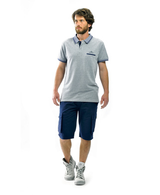 Polo homme gris chiné_1