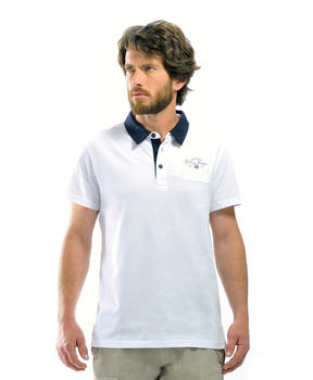 Polo homme blanc optique - Mode marine Homme