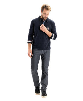 Polo manches longues homme marine - Mode marine Homme