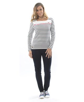 Tee-shirt manches longues femme naturel rayé marine_1